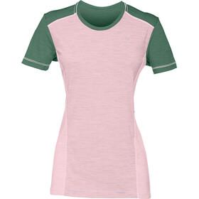 Norrøna Wool t-shirt Dames groen/roze